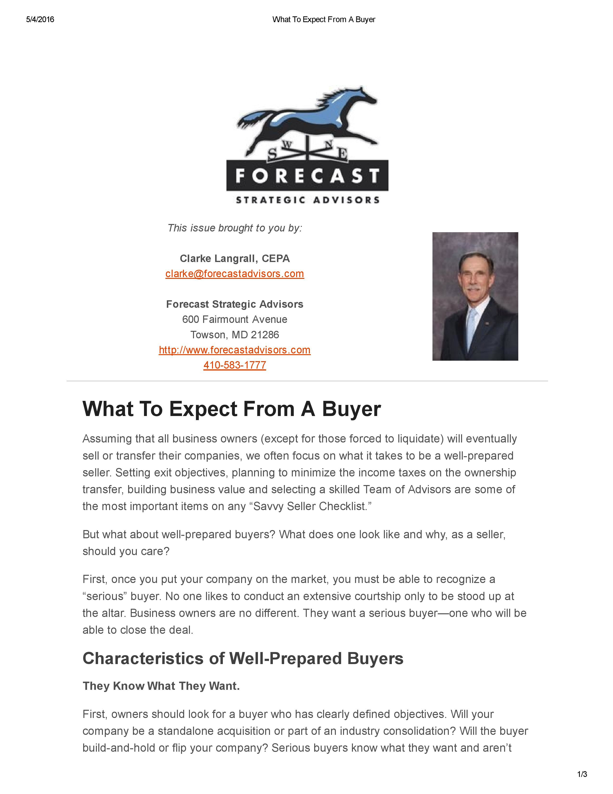What To Expect From A Buyer_Forecast Strategic Advisors April 216 Newsletter-page-001