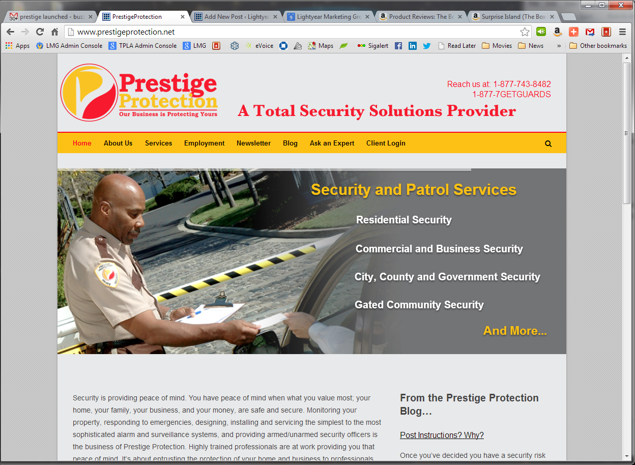 Screenshot of PrestigeProtection.net from PC