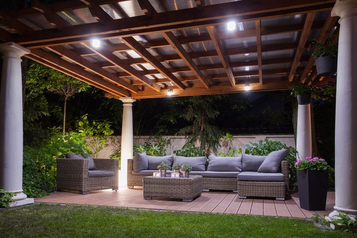 Patio lighting helps create an inviting outdoor getaway